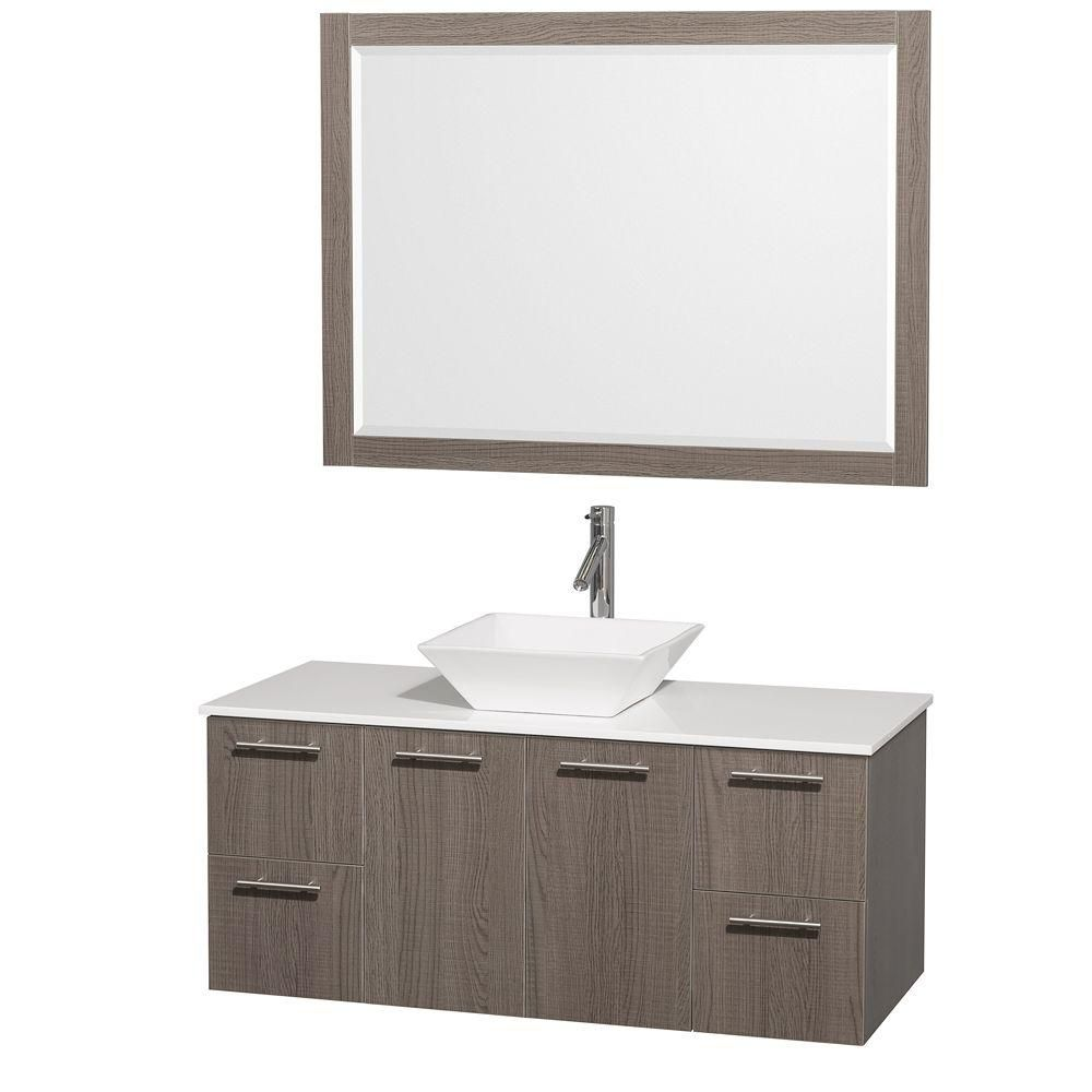 Amare 48-inch W Vanity in Grey Oak with Stone Top in White and Porcelain Sink