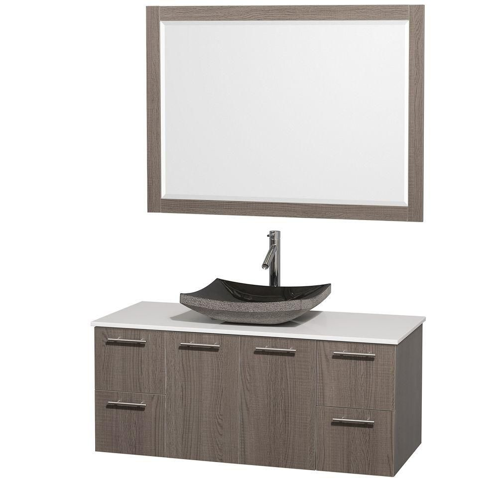 Amare 48-inch W Vanity in Grey Oak with Stone Top in White and Black Granite Sink