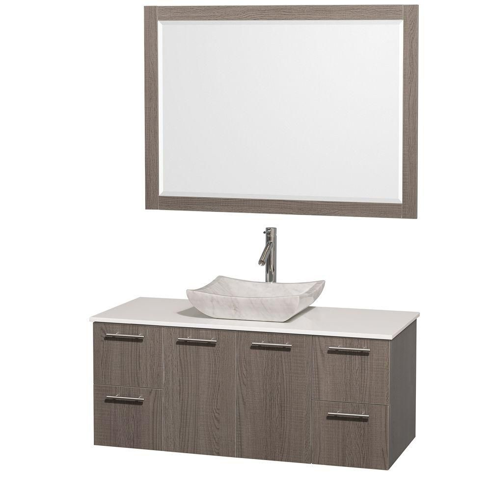 Amare 48-inch W Vanity in Grey Oak with Stone Top in White and Marble Sink