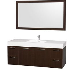 Wyndham Collection Amare 60-inch W 4-Drawer 2-Door Wall Mounted Vanity in Brown With Acrylic Top in White With Mirror