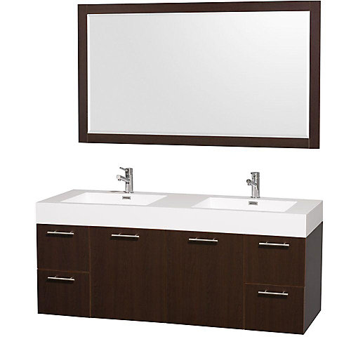 Amare 60-inch W 4-Drawer 2-Door Wall Mounted Vanity in Brown With Acrylic Top in White, 2 Basins