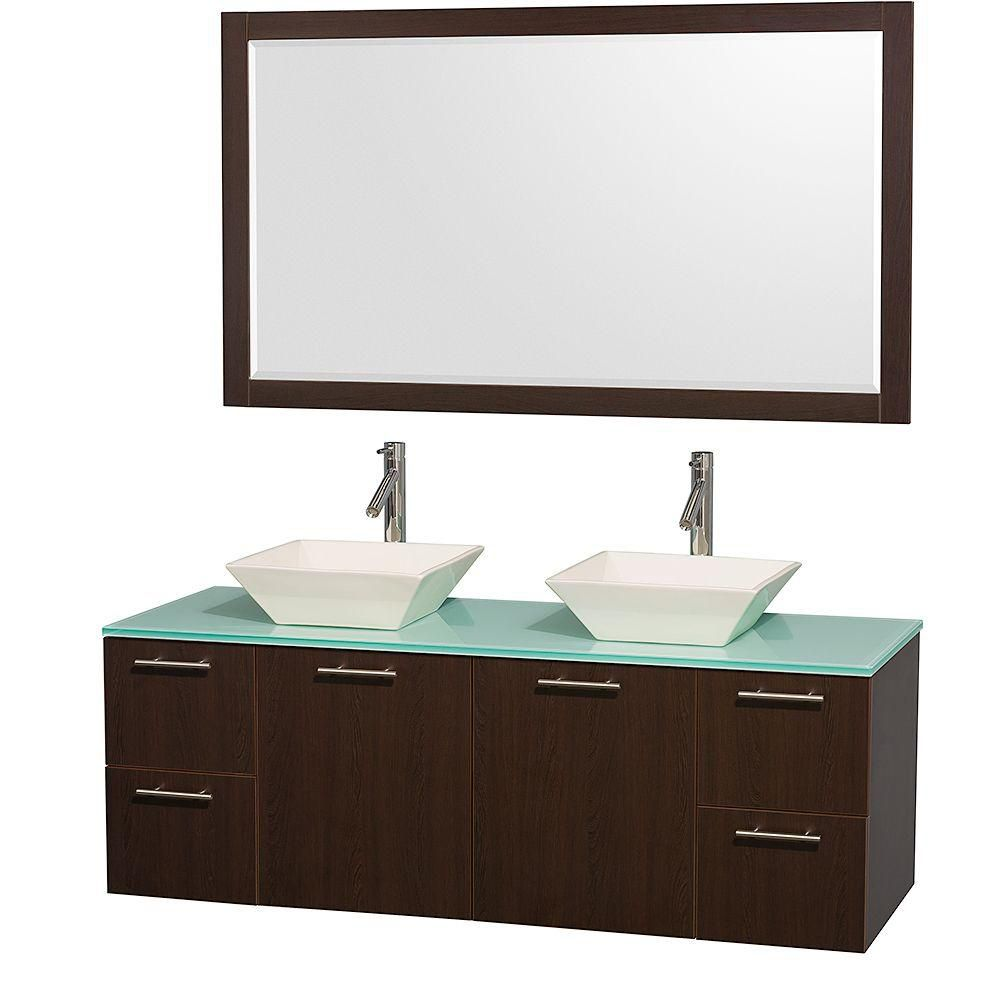 Amare 60-inch W Double Vanity in Espresso with Glass Top in Aqua and Porcelain Sinks
