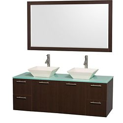 Wyndham Collection Amare 60-inch W 4-Drawer 2-Door Wall Mounted Vanity in Brown With Top in Green, Double Basins