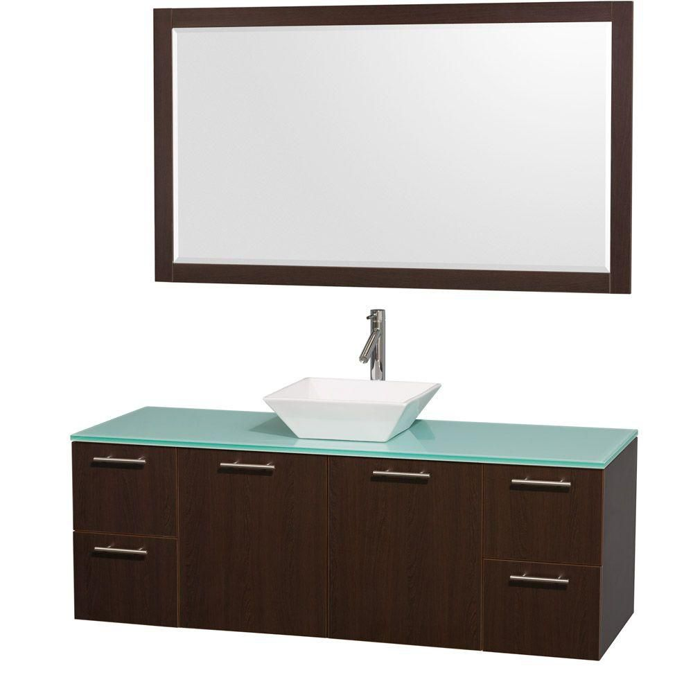 Amare 60-inch W Vanity in Espresso with Glass Top in Aqua and Porcelain Sink