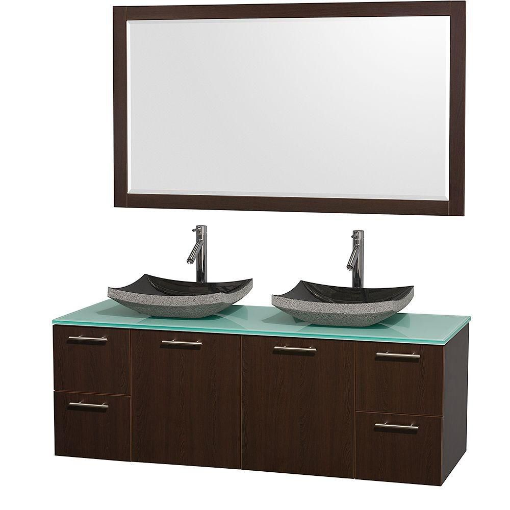 Amare 60-inch W Double Vanity in Espresso with Glass Top in Aqua and Granite Sinks