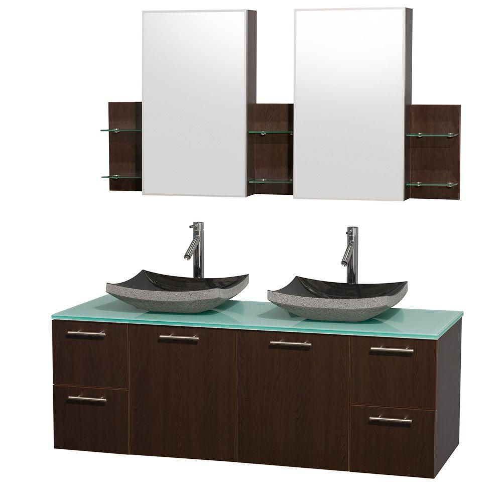 Amare 60-inch W Double Vanity in Espresso with Glass Top in Aqua and Black Granite Sinks