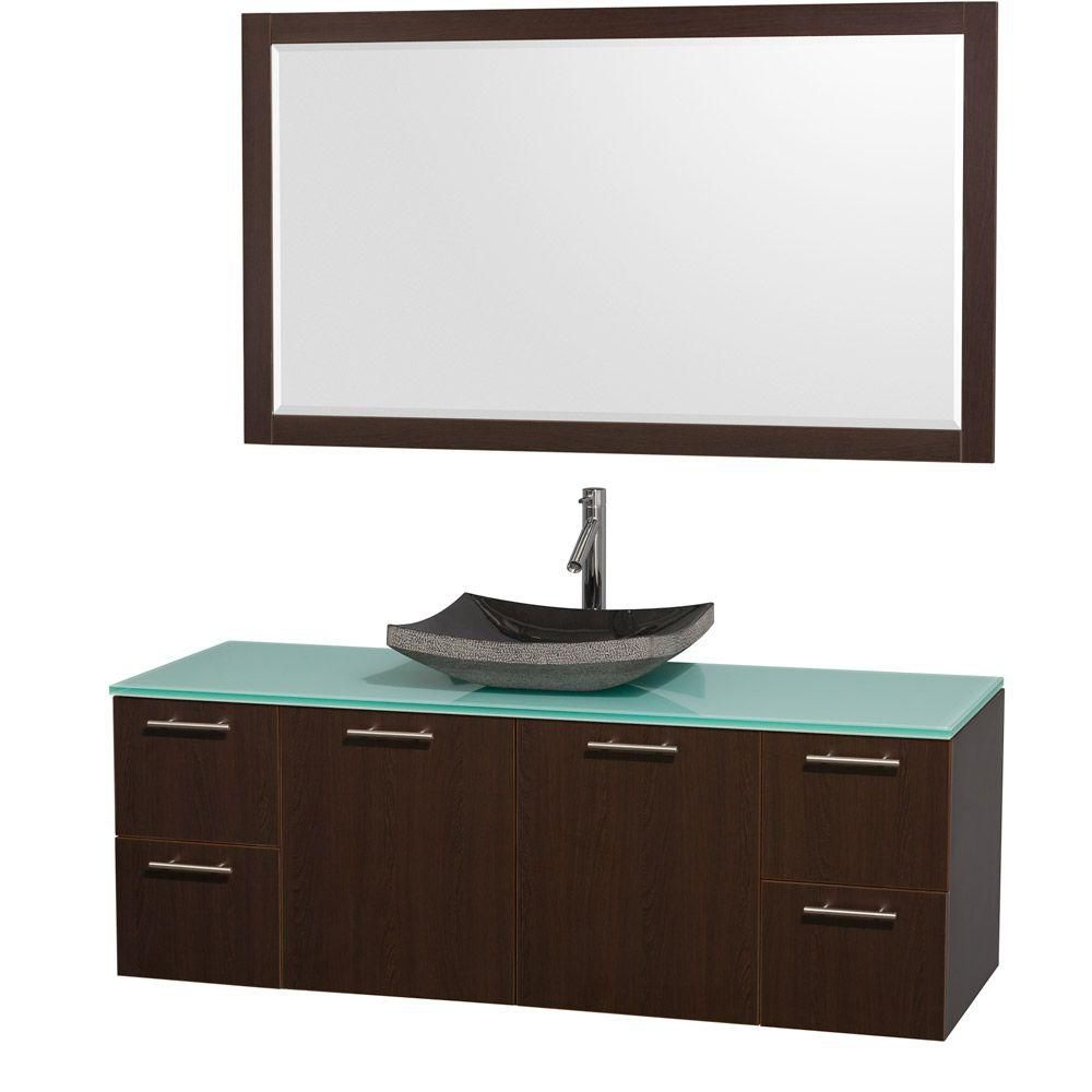 Amare 60-inch W Double Vanity in Espresso with Glass Top in Aqua and Black Granite Sink