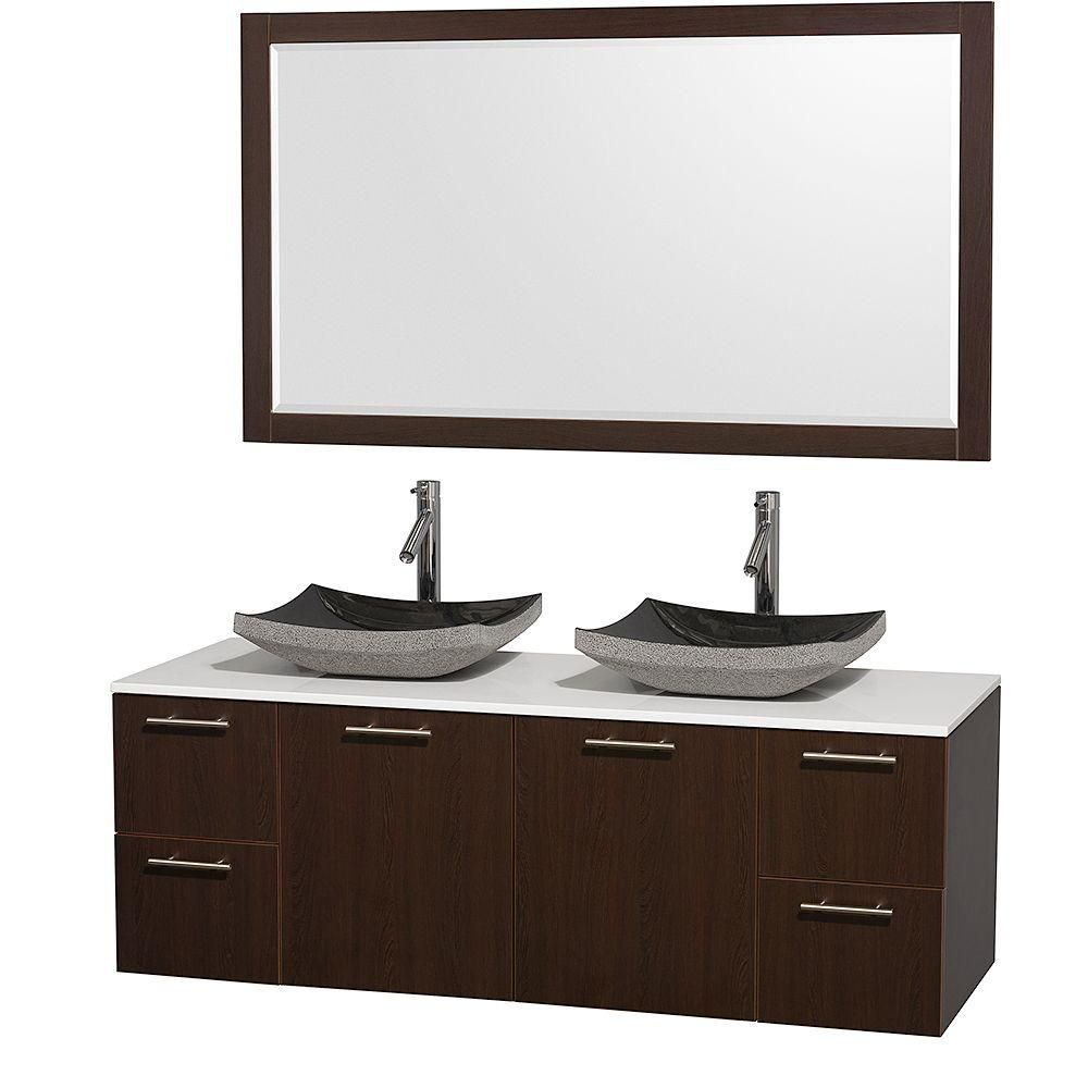 Amare 60-inch W Double Vanity in Espresso with Stone Top in White and Granite Sinks