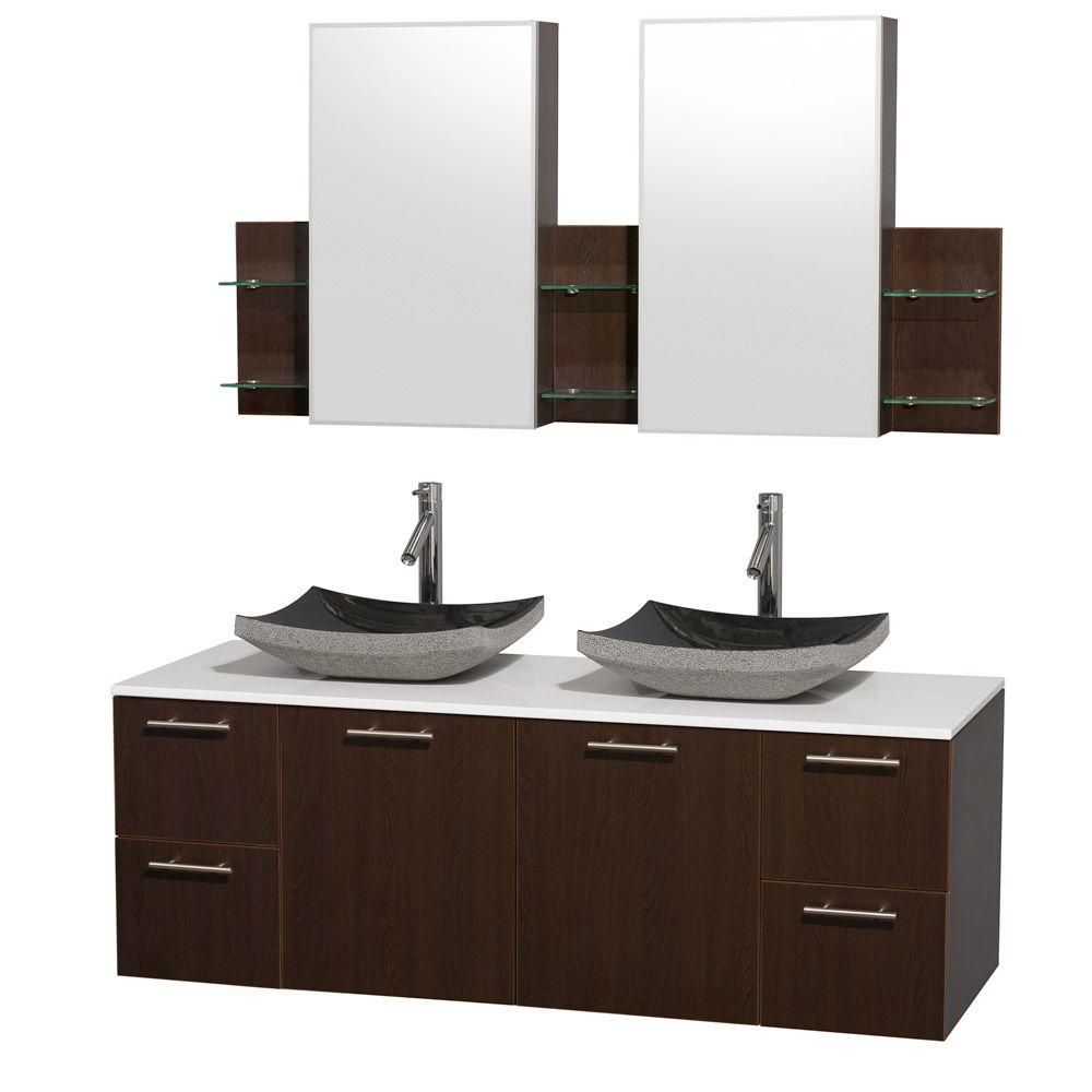 Amare 60-inch W Double Vanity in Espresso with Stone Top in White and Black Granite Sinks