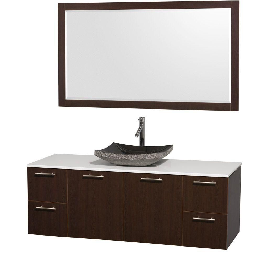Amare 60-inch W Vanity in Espresso with Stone Top in White and Granite Sink