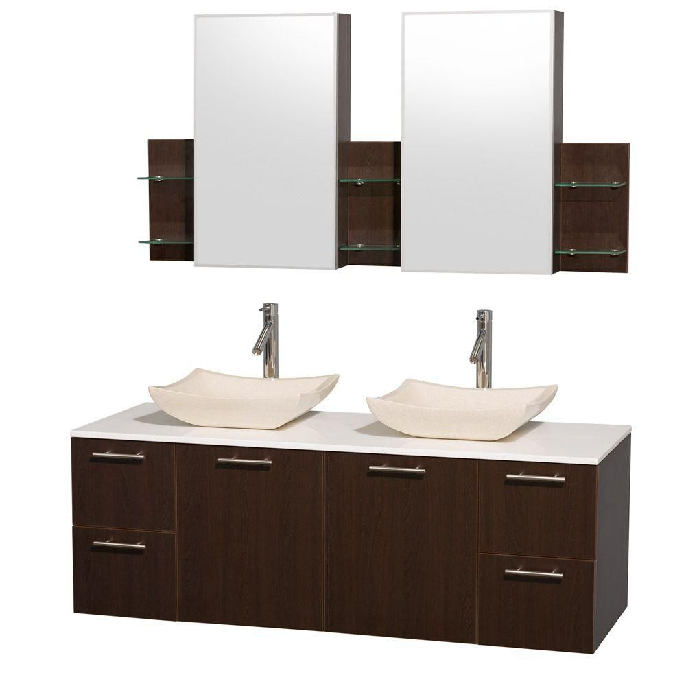 Amare 60-inch W Double Vanity in Espresso with Stone Top in White and Ivory Marble Sinks