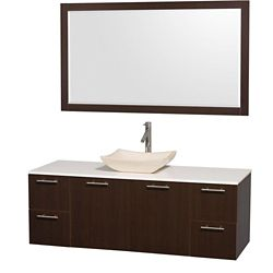 Wyndham Collection Amare 60-inch W 4-Drawer 2-Door Wall Mounted Vanity in Brown With Artificial Stone Top in White