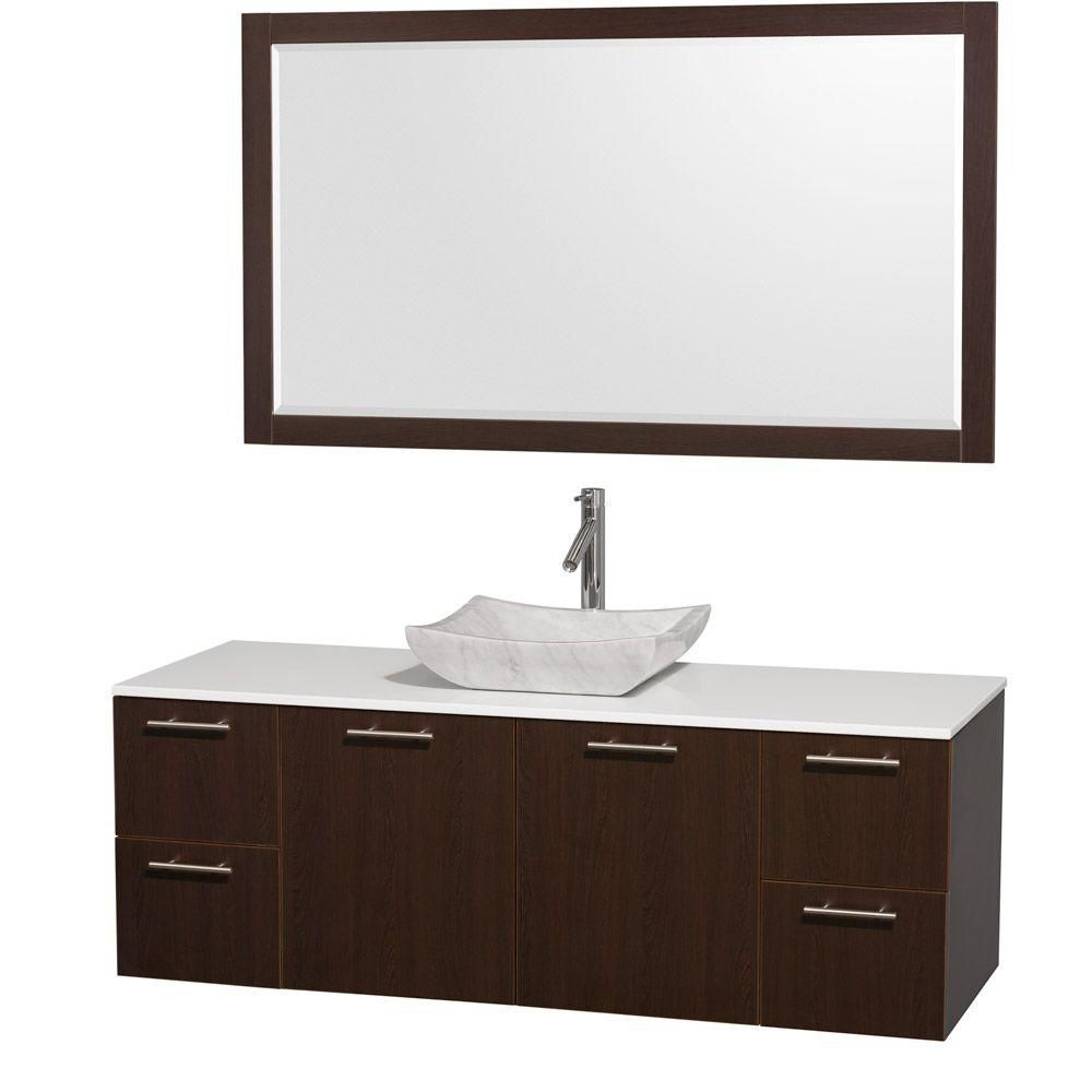 Amare 60-inch W Vanity in Espresso with Stone Top in White and Marble Sink