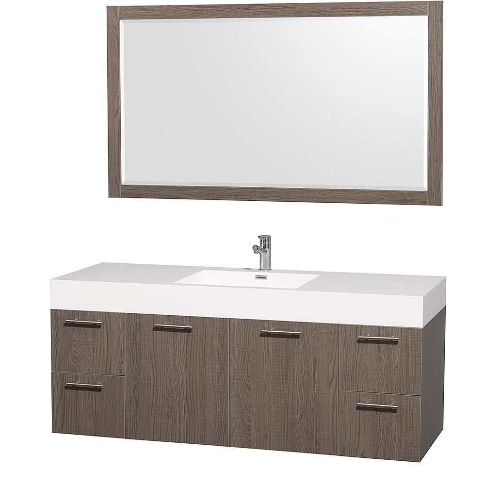 Amare 60-inch W 4-Drawer 2-Door Wall Mounted Vanity in Grey With Acrylic Top in White With Mirror