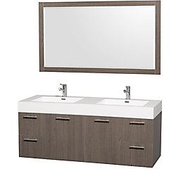 Wyndham Collection Amare 60-inch W 4-Drawer 2-Door Wall Mounted Vanity in Grey With Acrylic Top in White, Double Basins