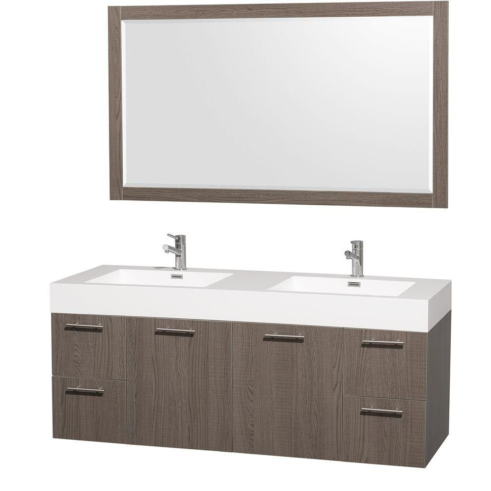 Wyndham Collection Amare 60-inch Vanity in Grey Oak with Acrylic-Resin Vanity Top in White and Integrated Sink