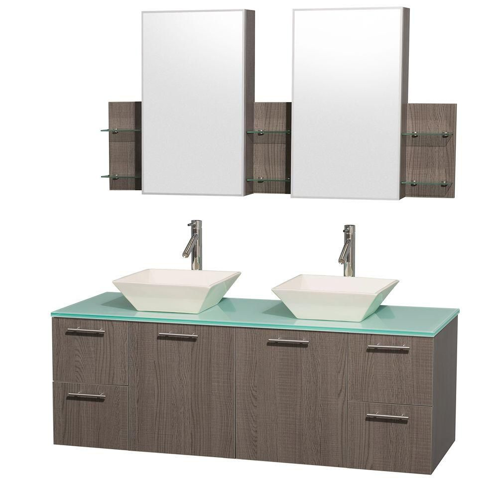 Amare 60-inch W Double Vanity in Grey Oak with Glass Top and Bone Porcelain Sinks