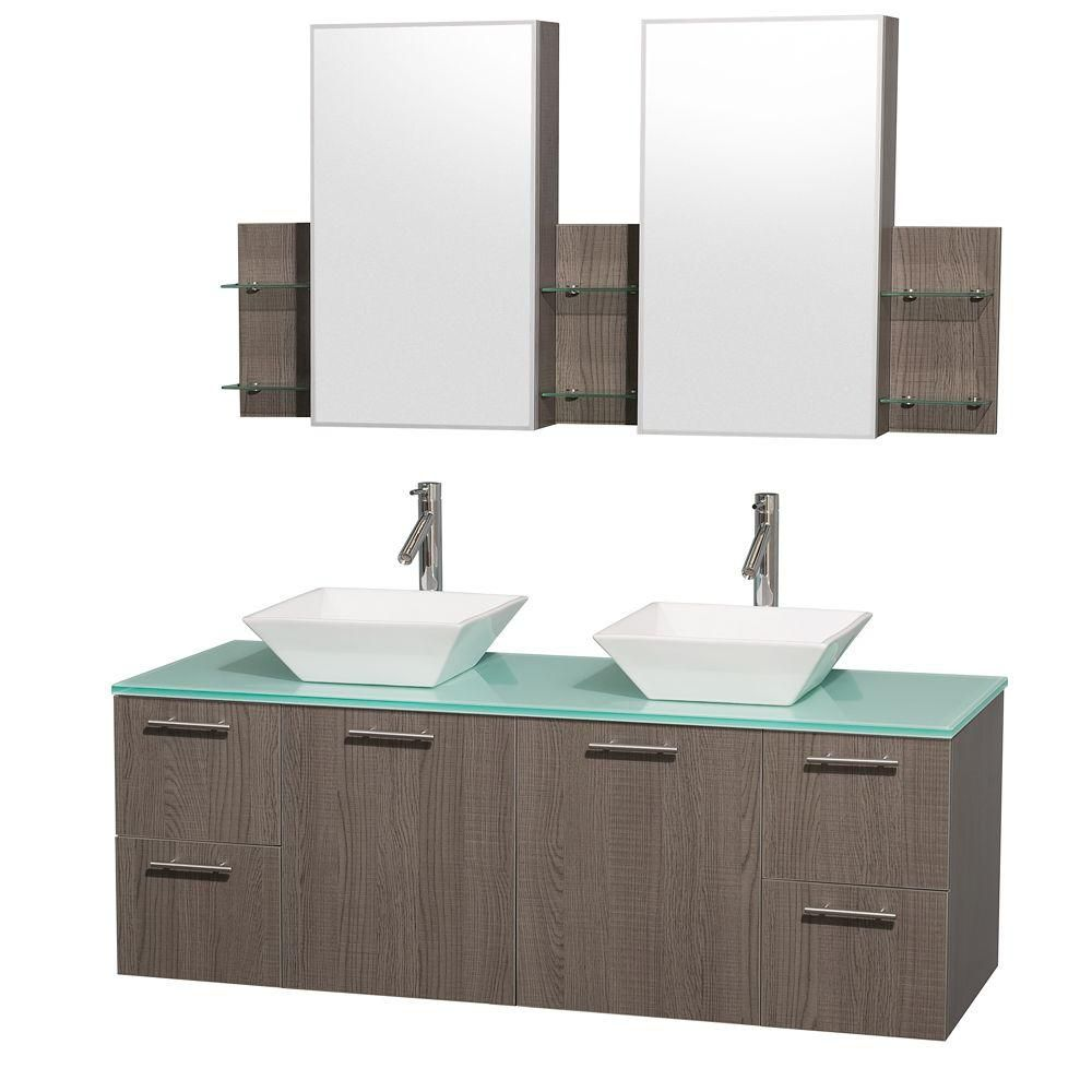 Amare 60-inch W Double Vanity in Grey Oak with Glass Top in Aqua and Porcelain Sinks