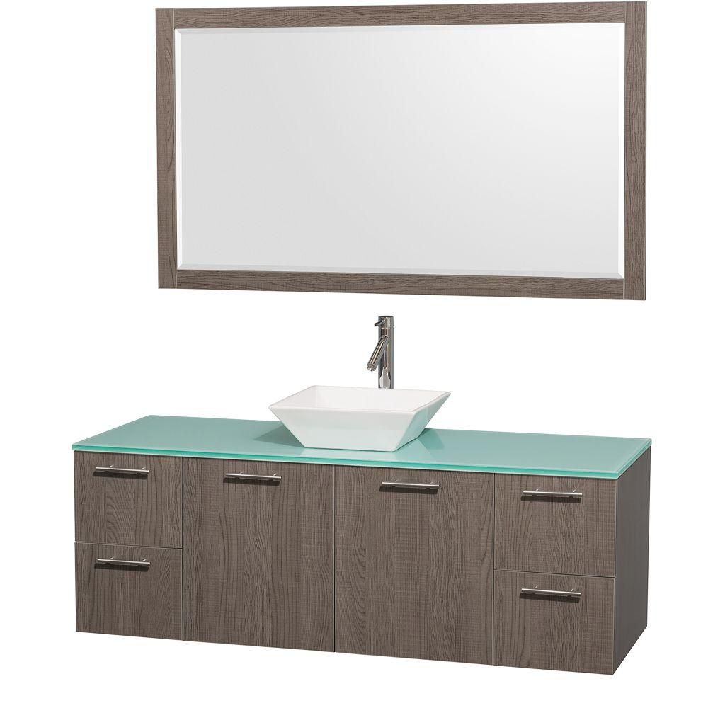 Amare 60-inch W Vanity in Grey Oak with Glass Top in Aqua and Porcelain Sink