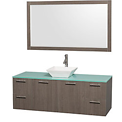 Wyndham Collection Amare 60-inch W 4-Drawer 2-Door Wall Mounted Vanity in Grey With Top in Green With Mirror