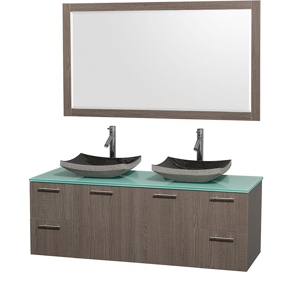 Amare 60-inch W 4-Drawer 2-Door Wall Mounted Vanity in Grey With Top in Green, Double Basins