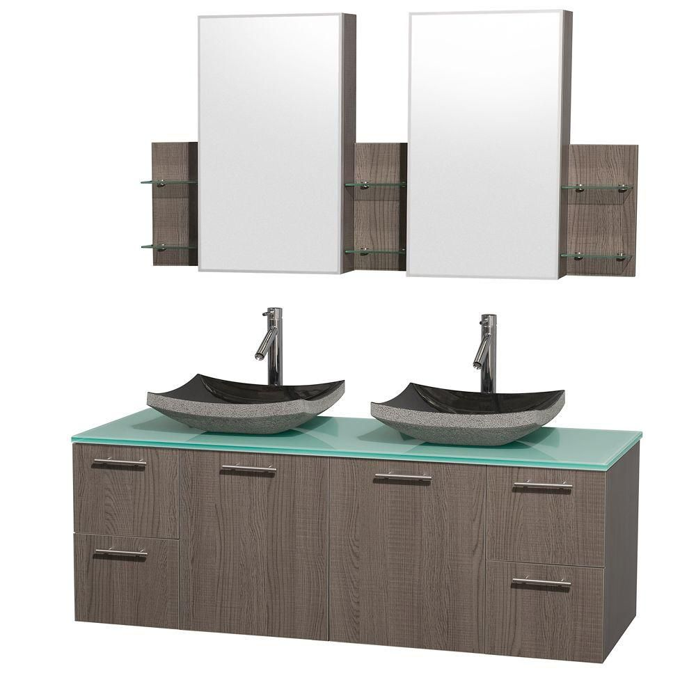 Amare 60-inch W Double Vanity in Grey Oak with Glass Top and Black Granite Sinks