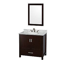 Wyndham Collection Sheffield 36-inch 1-Drawer 2-Door Freestanding Vanity in Brown With Marble Top in White With Mirror