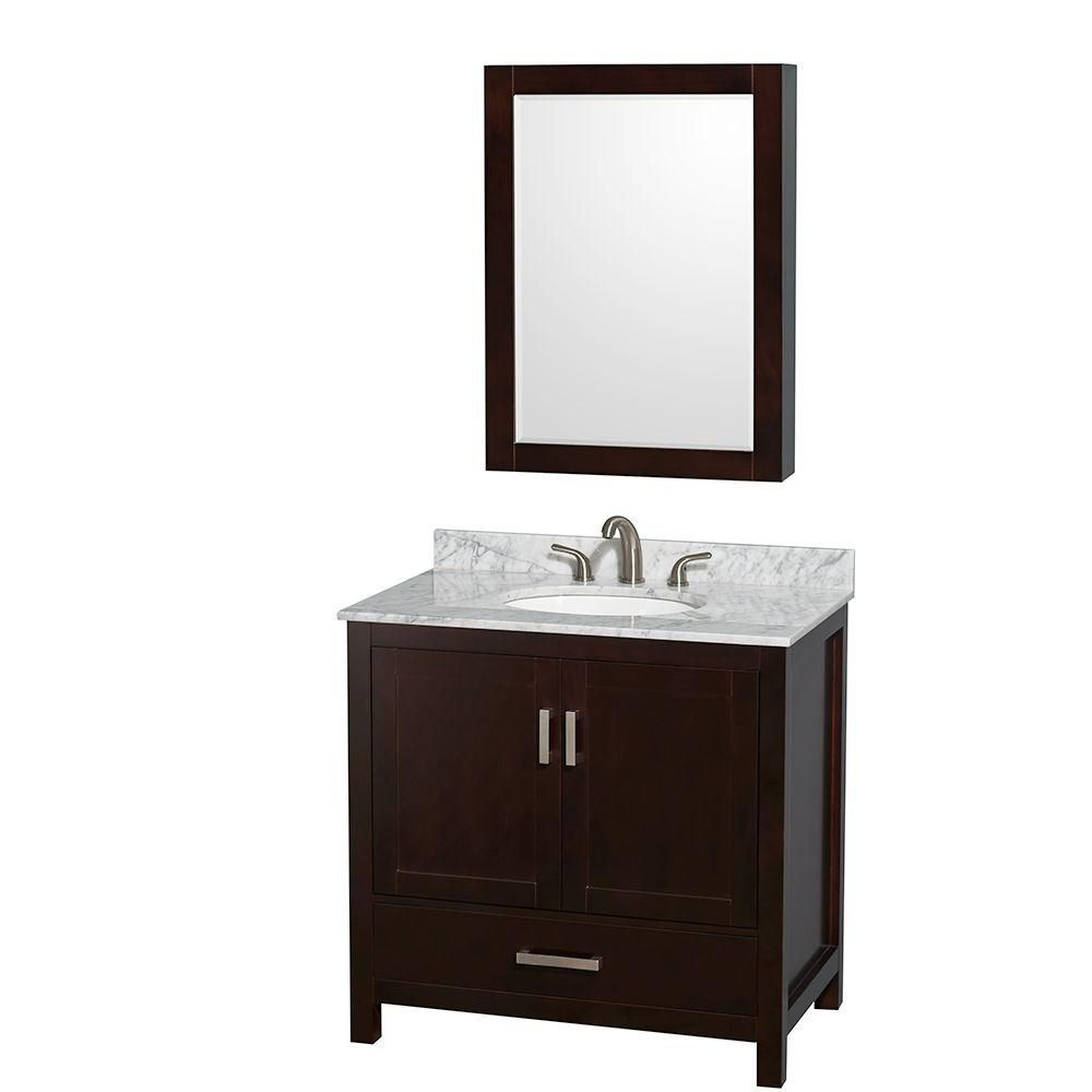 Sheffield 36-inch W Vanity in Espresso with Marble Top in Carrara White and Medicine Cabinet