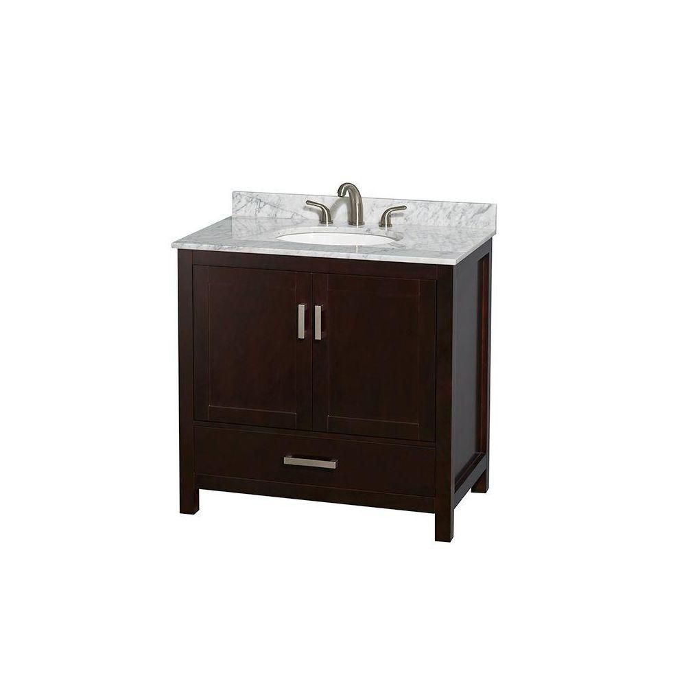 Sheffield 36-inch W Vanity in Espresso Finish with Marble Top in Carrara White