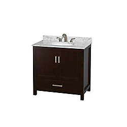 Wyndham Collection Sheffield 36-inch W 1-Drawer 2-Door Freestanding Vanity in Brown With Marble Top in White