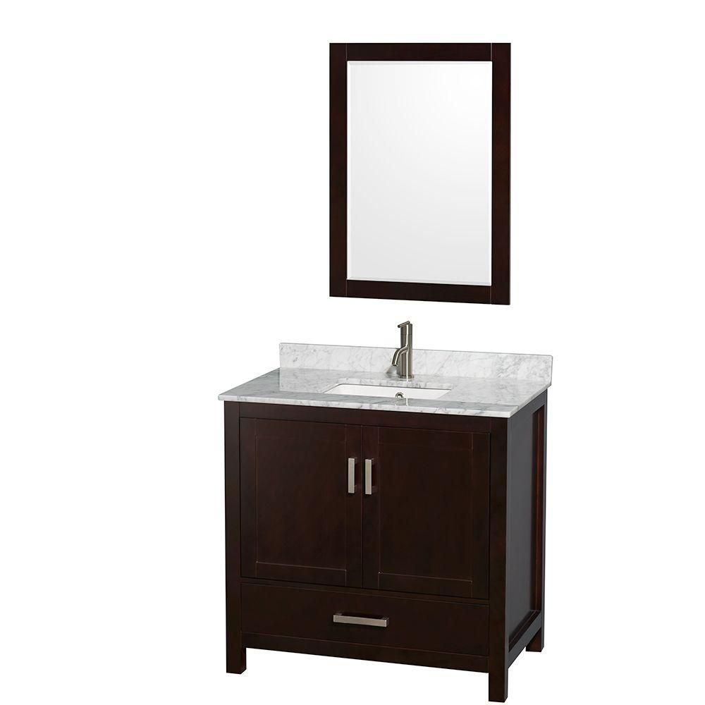 Sheffield 36-inch W Vanity in Espresso Finish with Marble Top in Carrara White and 24-inch Mirror