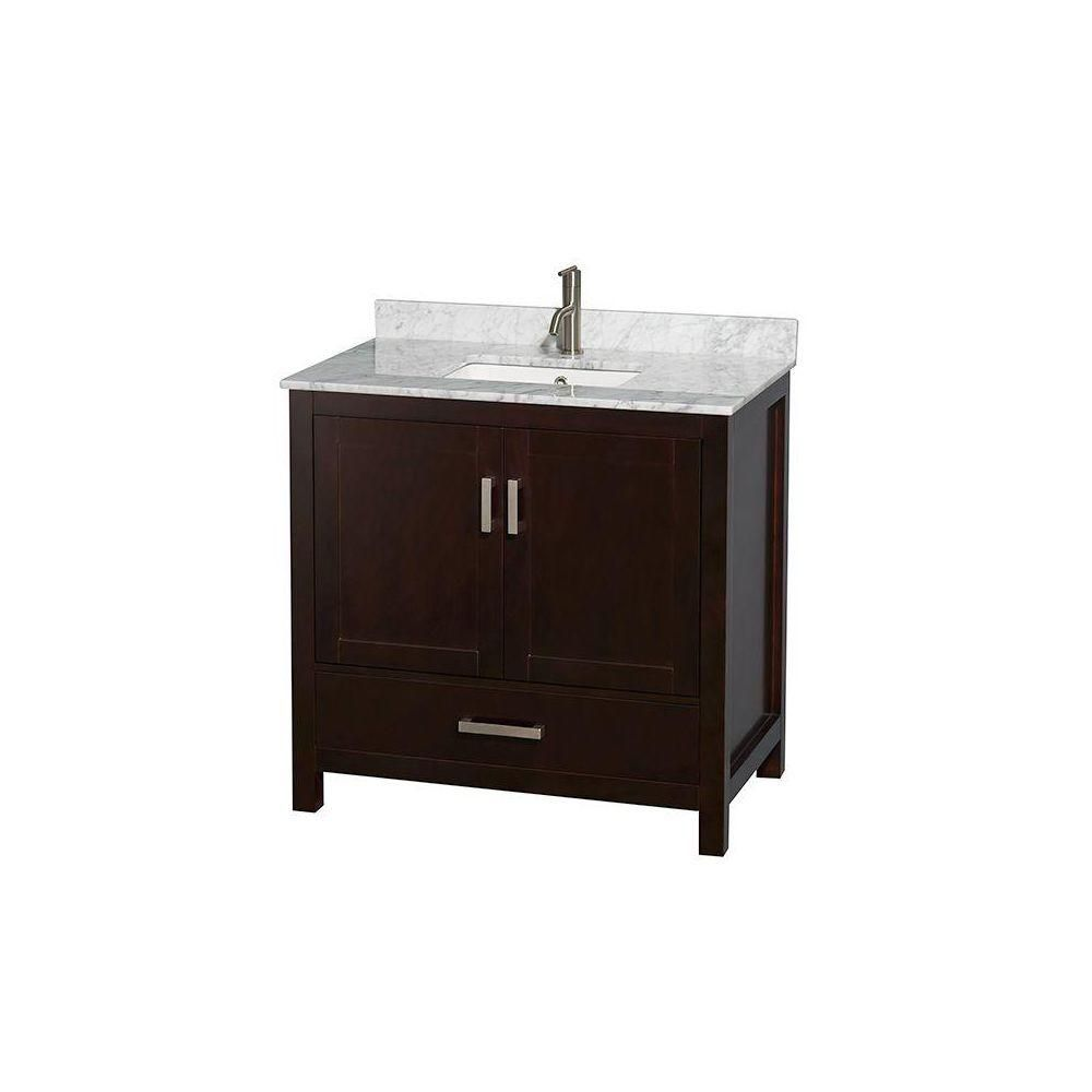 Sheffield 36-inch W Vanity in Espresso with Marble Top in Carrara White