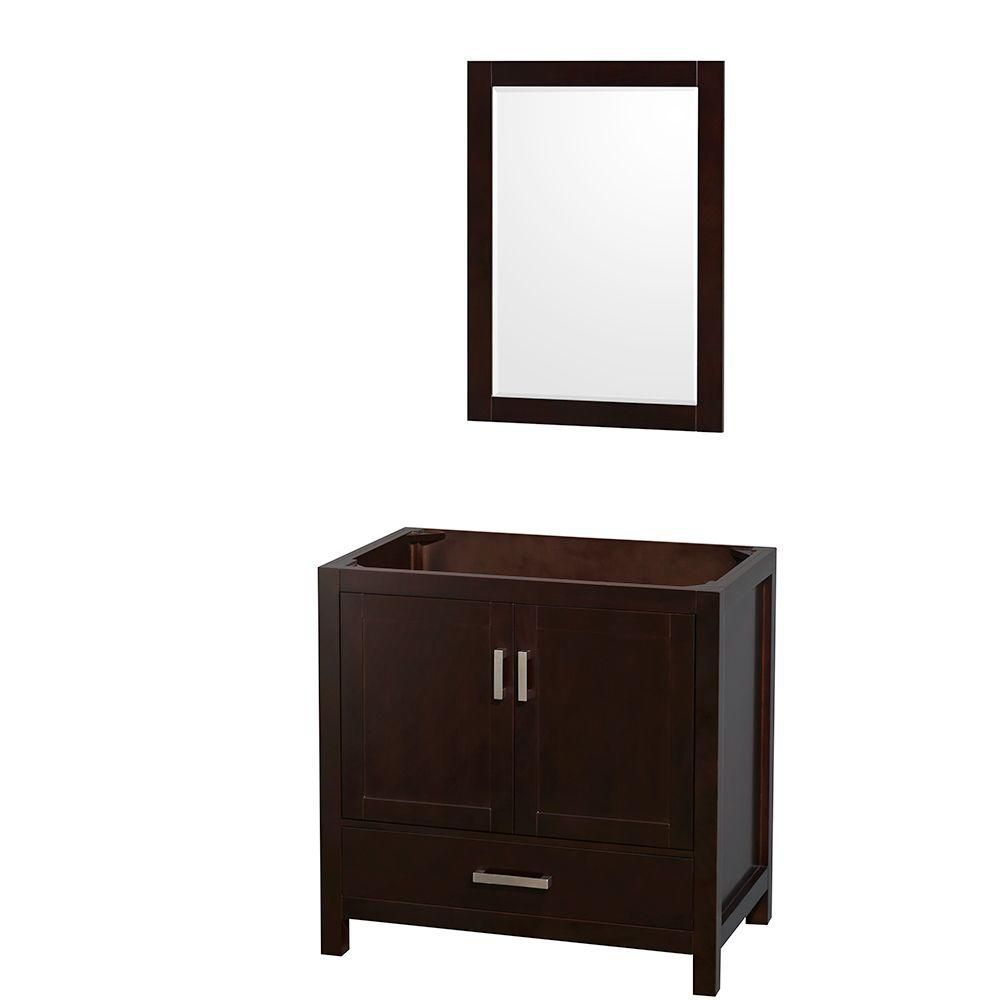 Sheffield 35-Inch  Vanity Cabinet with Mirror in Espresso