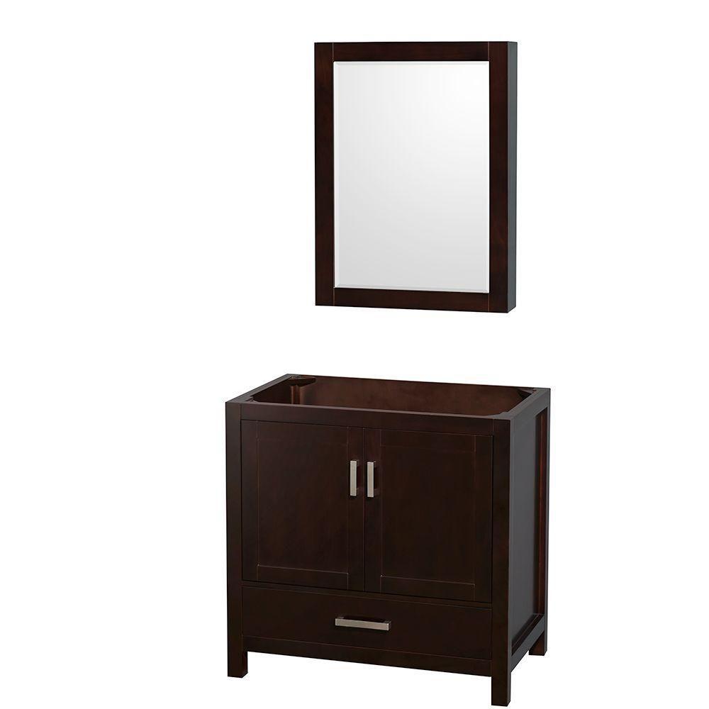 Sheffield 35-Inch  Vanity Cabinet with Medicine Cabinet in Espresso