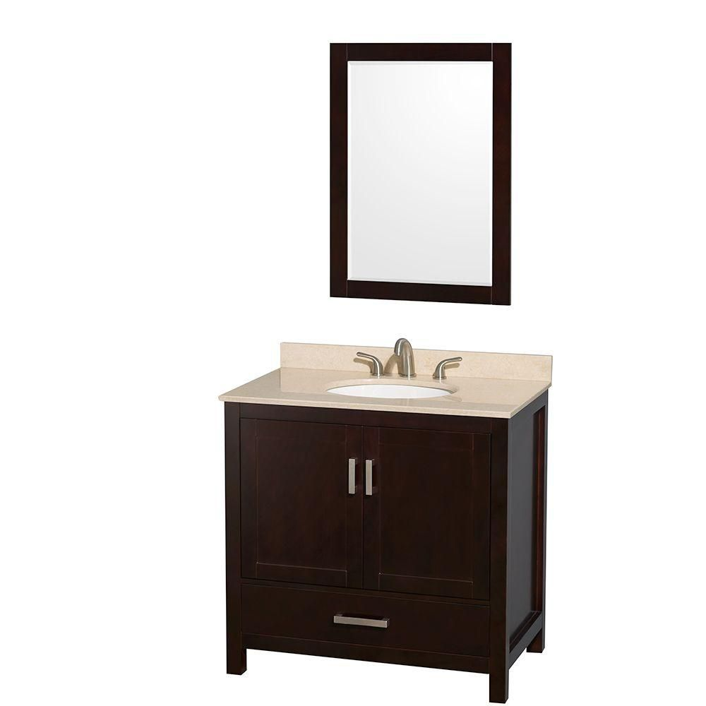 Wyndham Collection Sheffield 36-inch W 1-Drawer 2-Door Vanity in Brown With Marble Top in Beige Tan With Mirror