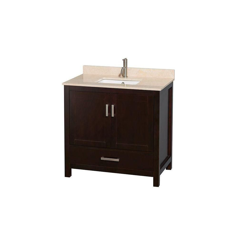 Sheffield 36-inch W 1-Drawer 2-Door Freestanding Vanity in Brown With Marble Top in Beige Tan