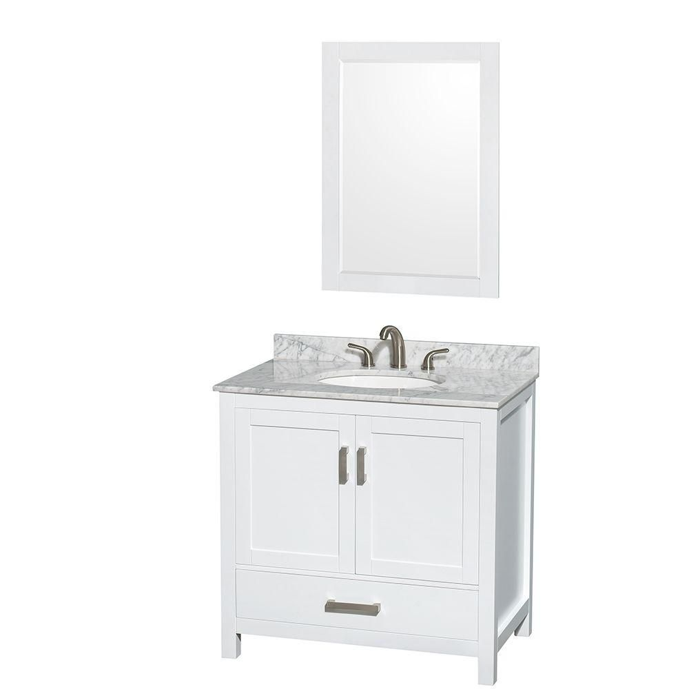 Sheffield 36-inch W Vanity in White with Marble Top in Carrara White and Mirror
