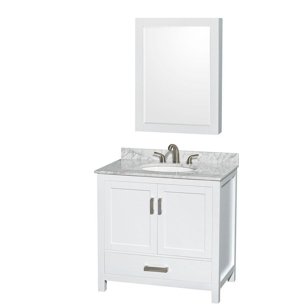 Sheffield 36-inch W Vanity in White with Marble Top in Carrara White and Medicine Cabinet