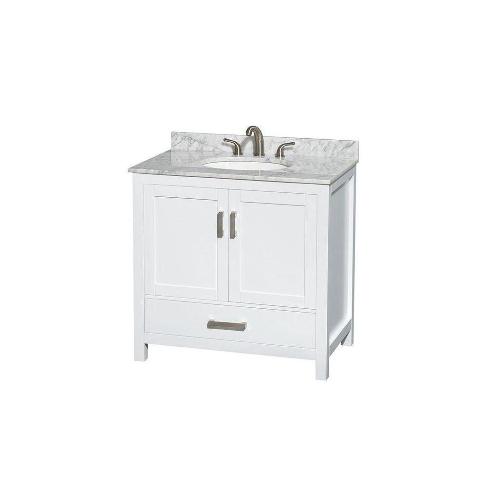 Sheffield 36-inch W Vanity in White with Marble Top in Carrara White