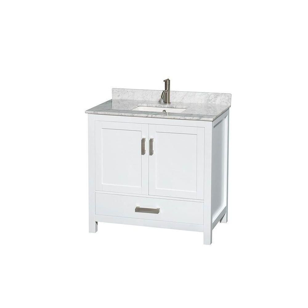 Sheffield 36-inch W Vanity in White Finish with Marble Top in Carrara White