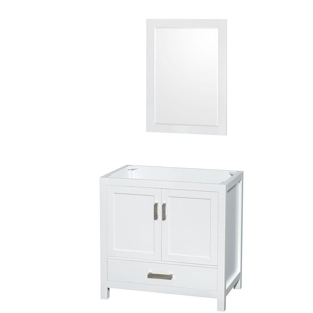 Wyndham Collection Sheffield 35-Inch  Vanity Cabinet with Mirror in White