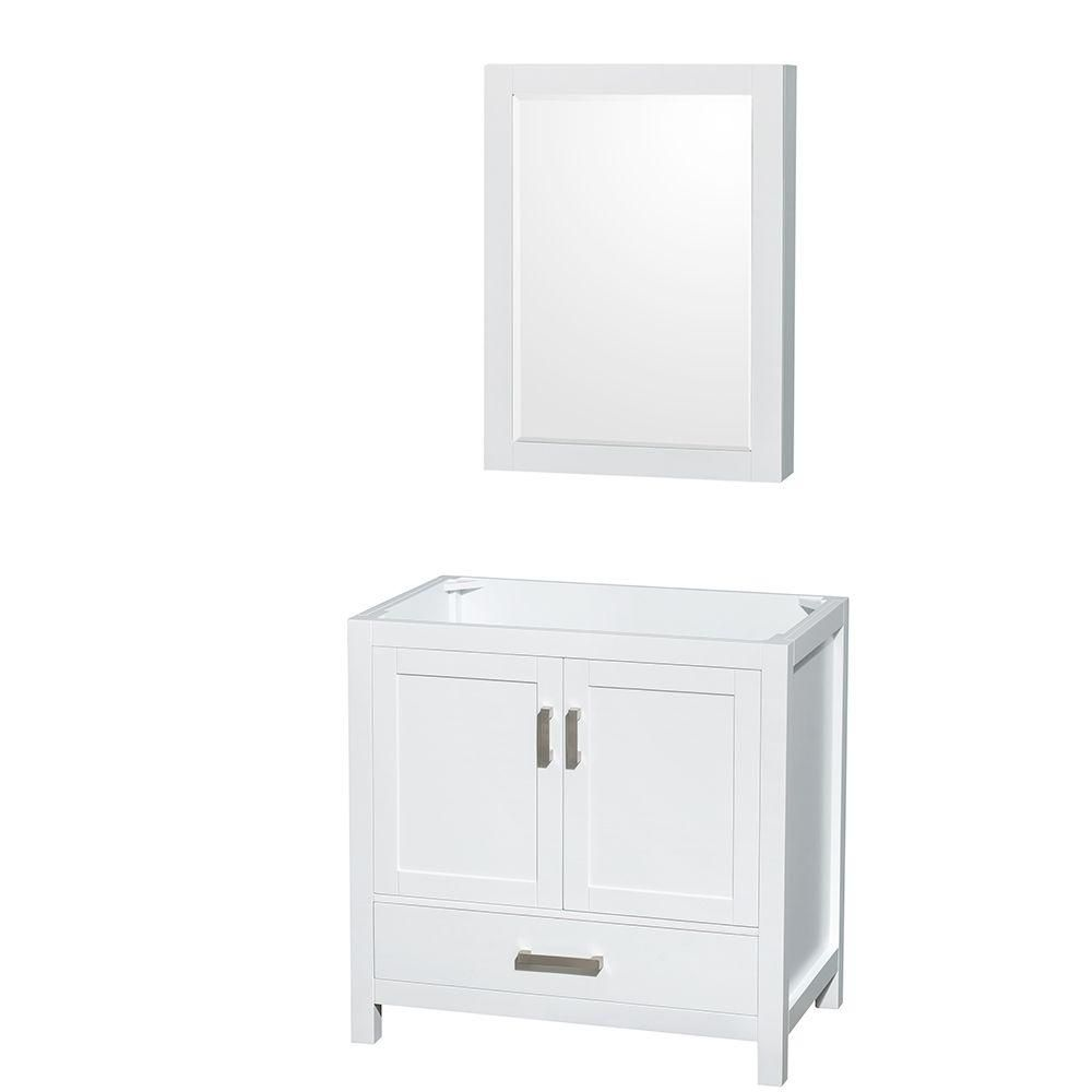 Sheffield 35-Inch  Vanity Cabinet with Medicine Cabinet in White