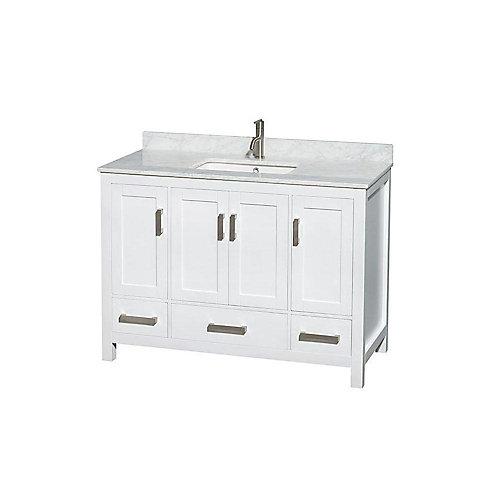 Sheffield 48 po Meuble blanc avec revêtement en marbre blanc Carrare