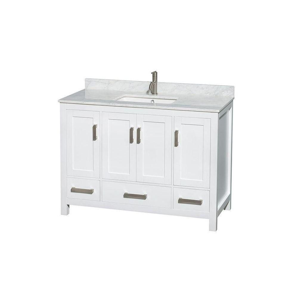 Sheffield 48-inch W Vanity in White with Marble Top in Carrara White