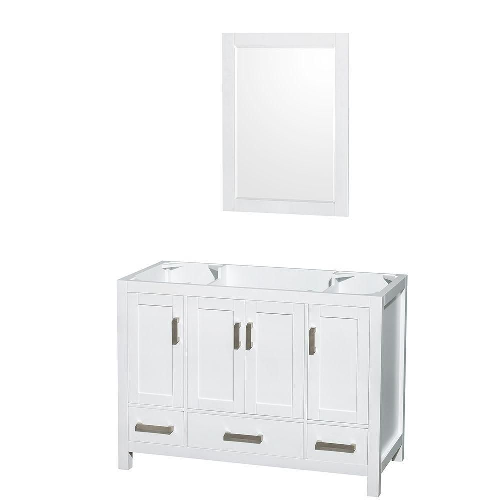 Sheffield 48-Inch  Vanity Cabinet with 24-Inch  Mirror in White