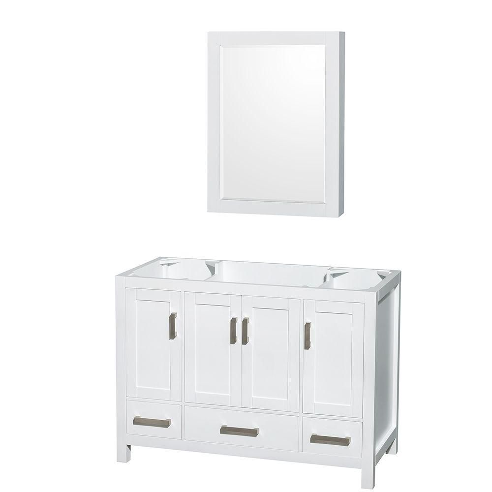 Sheffield 48-Inch  Vanity Cabinet with Medicine Cabinet in White