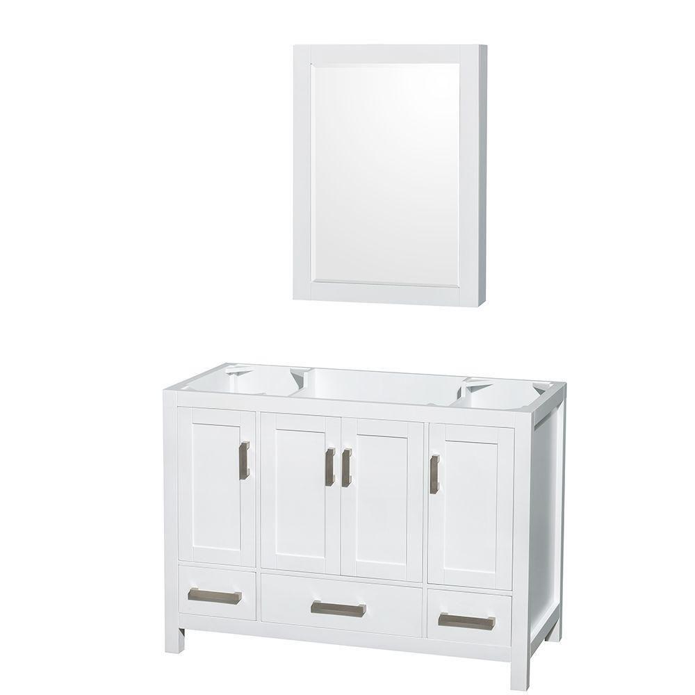 Sheffield 48 po Meuble de toilette avec armoire à pharmacie en blanc