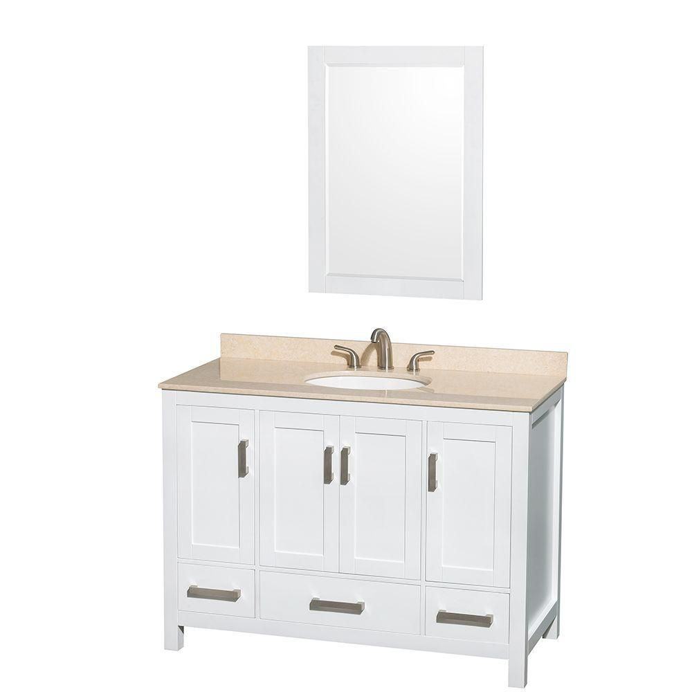 Sheffield 48-inch W Vanity in White with Marble Top in Ivory and Mirror