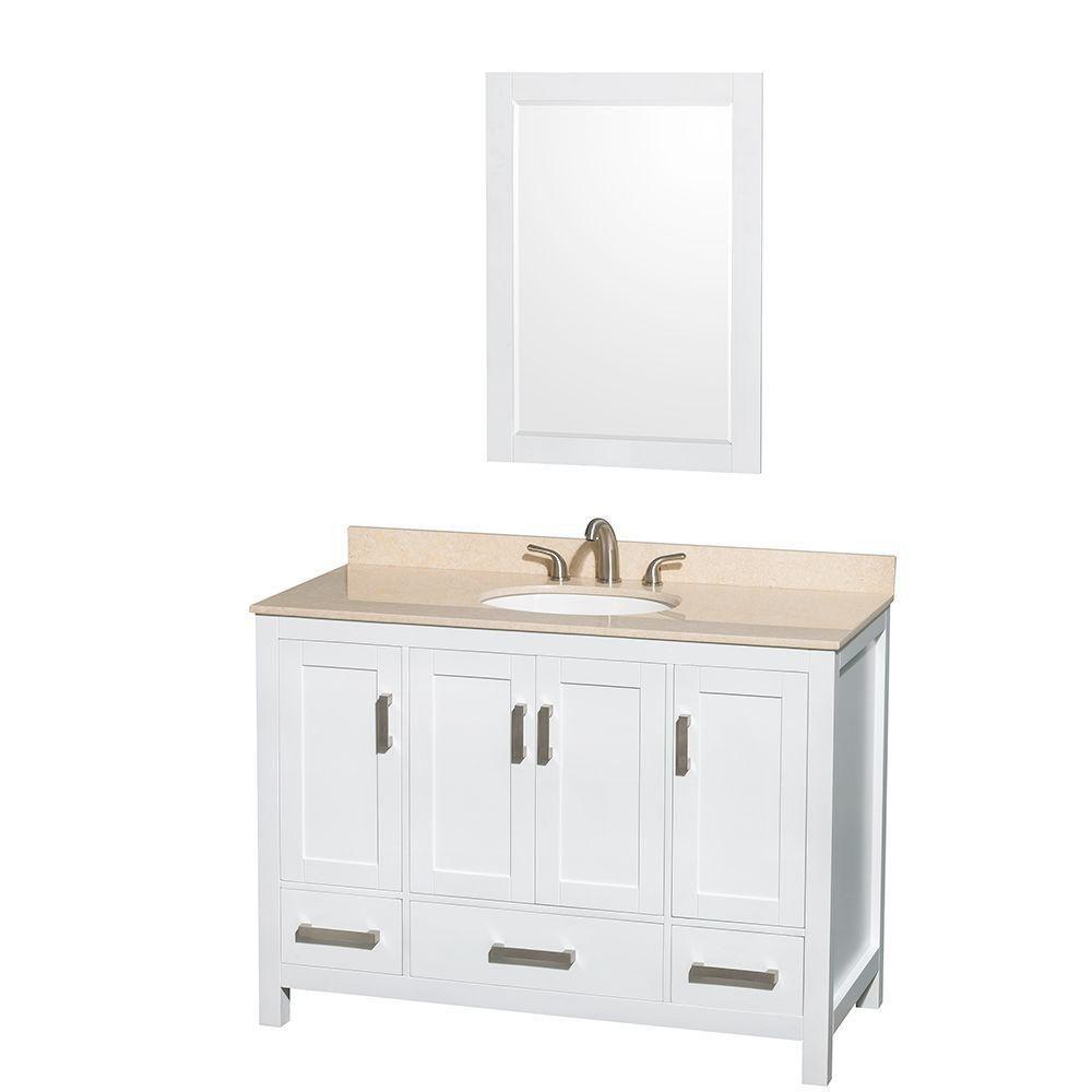 Sheffield 48 po Meuble blanc dbl. et revêt. en marbre ivoire, évier ovale et de 24po Miroir
