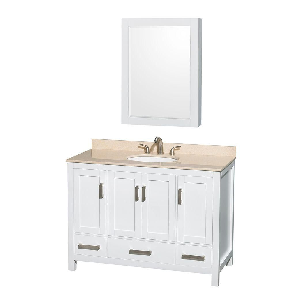 Sheffield 48-inch W Vanity in White with Marble Top in Ivory and Medicine Cabinet